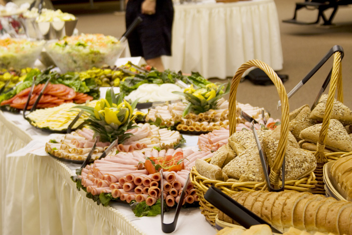 Blue Gate Catering table of meats and cheeses beautifully displayed