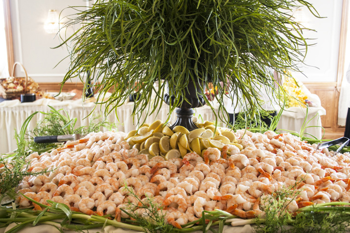A a large shrimp display for a special event