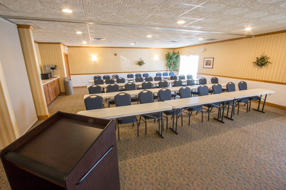 A classroom setup in a conference room at the Blue Gate Garden Inn
