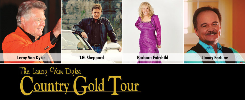 Photo of Country Gold with Leroy Van Dyke, Barbara Fairchild, TG Sheppard, and Jimmy Fortune for the Shipshewana Event