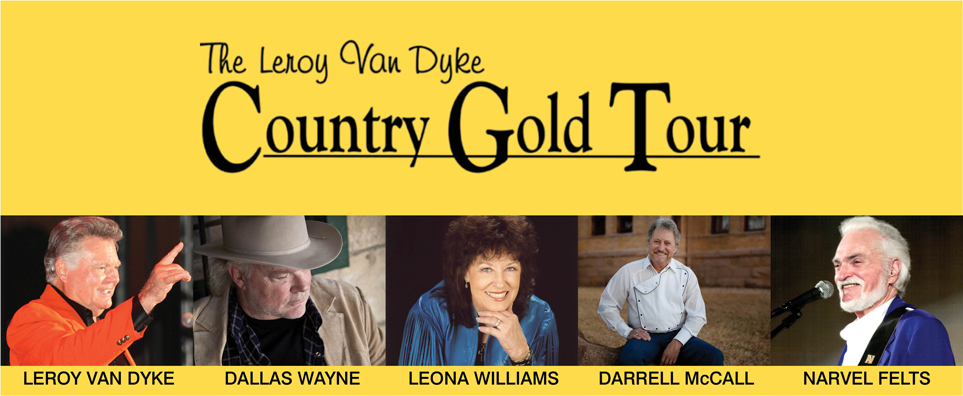 Photo of Country Gold with Leroy Van Dyke, Dallas Wayne, Leona Williams, Darrell McCall & Narvel Felts for the Shipshewana Event