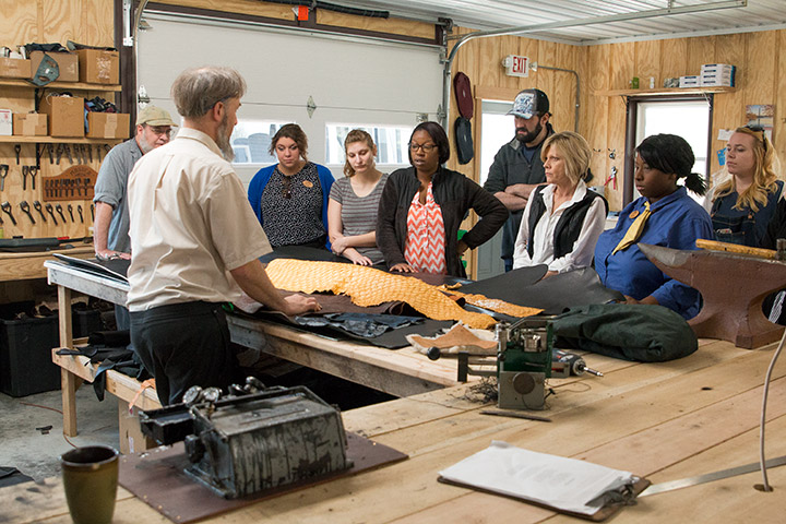 Touring a locally owned Amish leathershop
